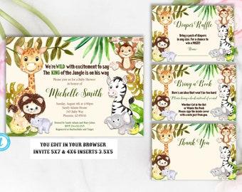 Jungle Baby Shower Invitation Package, Baby Shower Invitation, Baby Shower Template, Giraffe, Elephant, Monkey, Safari, Jungle, You Edit