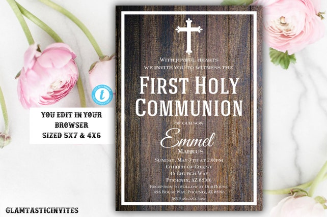 First Communion Invitation Template Boy First Communion Invitation