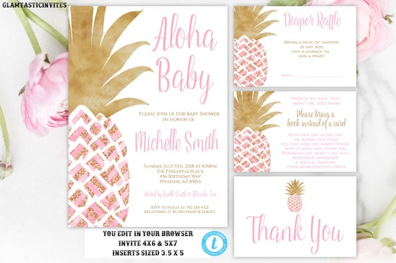 pineapple baby shower invitation pink and gold pineapple girl baby