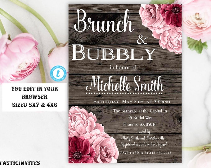 Brunch and Bubbly Invitation Template Rustic Burgundy Rose Gold Flower Instant Download Editable Printable DIY Bridal Shower Floral Card