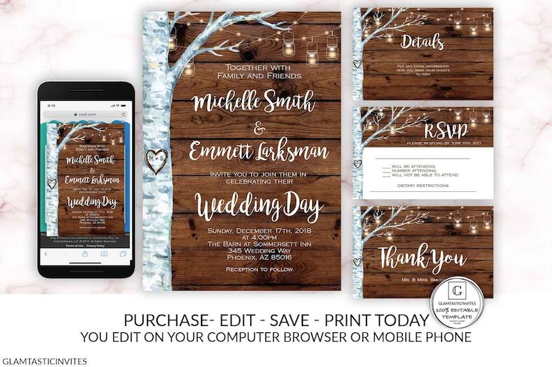 Birch Tree Rustic Wedding Invitation Country Wedding image 0