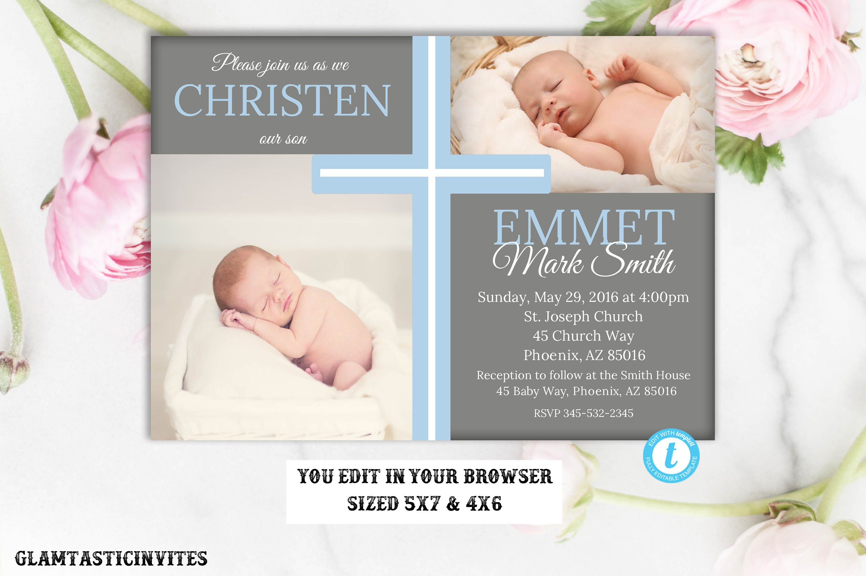 Christening Invitation Boy, Christening Template, Boy Communion ...