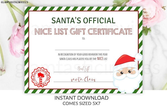 picture about Printable Santa Nice List Certificate identify Good Listing Certification, Santa Great Listing, Immediate Obtain