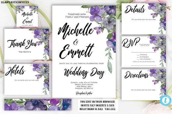 purple blue floral wedding invitation template printable template