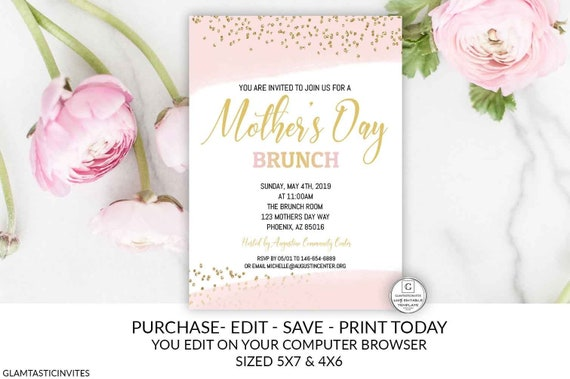 Pink Gold Mothers Day Brunch Invitation Editable Printable