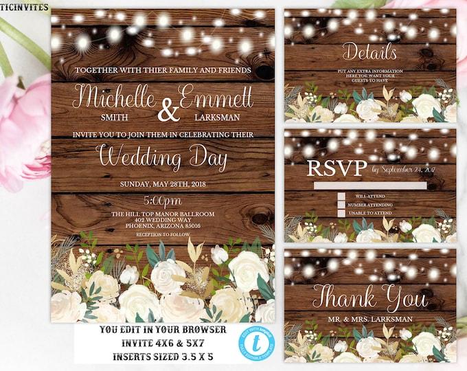 Wedding Invitation Template, Rustic Wedding Invitation Set, Floral Wedding Invitation, Instant Download, Editable, Printable,DIY Wedding Set
