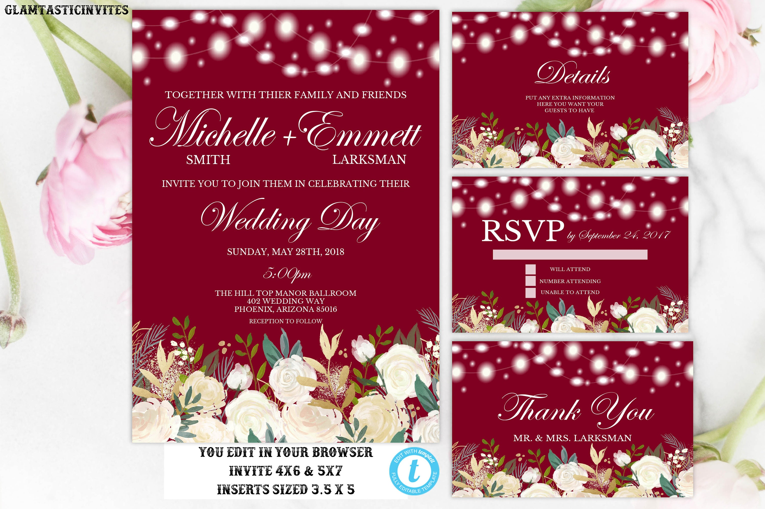 Burgundy White Rose Floral Wedding Invitation Printable Template ...