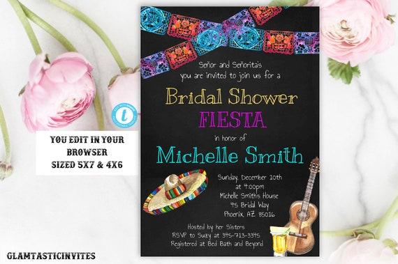 Fiesta Bridal Shower Invitation Fiesta Invitation Template Etsy