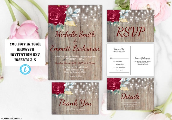 burgundy wedding invitation template marsala wedding invitation