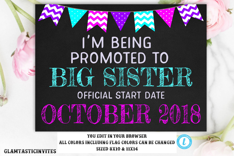 Pregnancy Announcement Template Big Sister Pregnancy Etsy