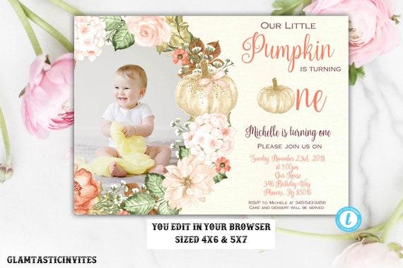 Pumpkin First Birthday Invitation Template Our Little Editable Printable Fall Girl Boy Gold Floral Flower Autumn DIY Card