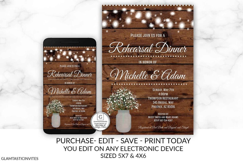 Rustic Rehearsal Dinner Invitation Template Editable Printable image 0