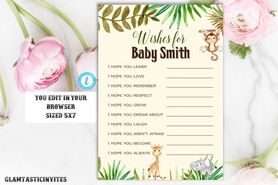wishes for baby template wishes for baby game baby shower etsy