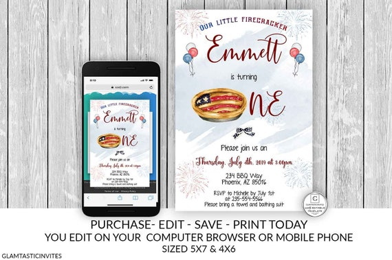 Fourth Of July First Birthday Invitation 4th Template Editable Printable Online Electronic DIY Cheap Pool Outdoor Summer