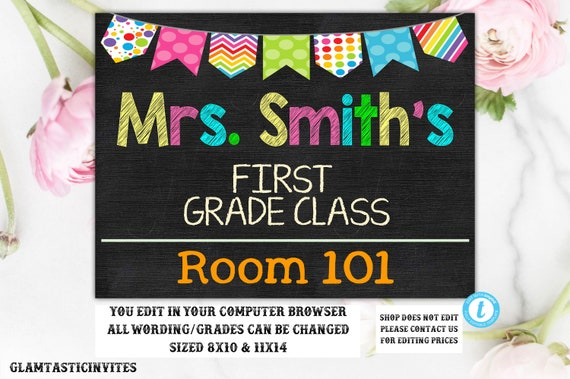 Teacher Door Sign Template Teacher Name Sign Classroom - Door sign template