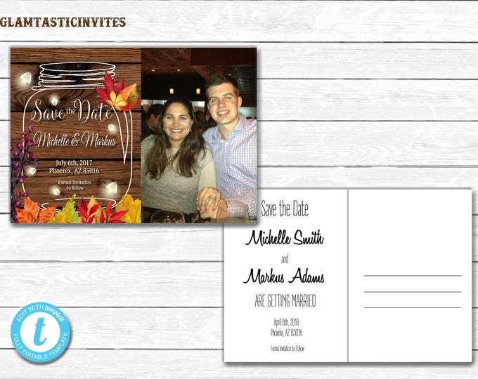 Fall Rustic Save-The-Dates, Printable Rustic Save the Date Postcard, Save the Date, Rustic Wedding, Save the Date Template, Template, DIY