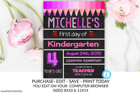 Chalkboard Sign Template | First Day Of School Sign Template Instant Download Editable Sign