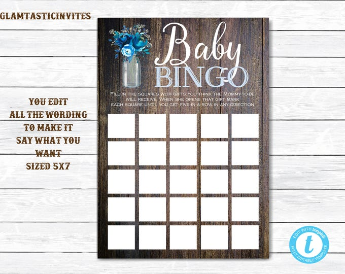 Baby Shower Bingo, Rustic Baby Shower Bingo, You Edit, Template, Printable, Baby Shower Game, Rustic Template, Baby Shower Template, DIY