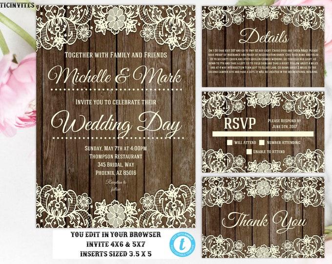 You Edit Wedding Invitation Template, Rustic Lace Wedding Invitation, Instant Download, Editable, Printable, DIY Wedding Template, Wedding