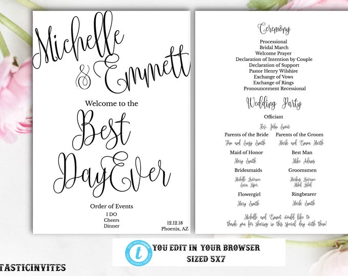 Printable Instant Download Script Cheap Online Wedding Ceremony Program DIY Wedding Printable, Editable Black White Modern Simple Program