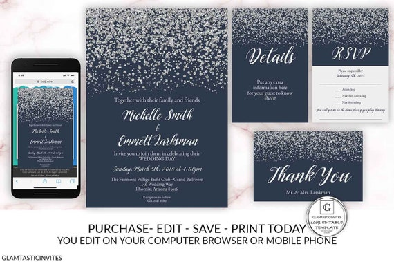 Navy Blue Silver Diamond Wedding Invitation Set Package Template