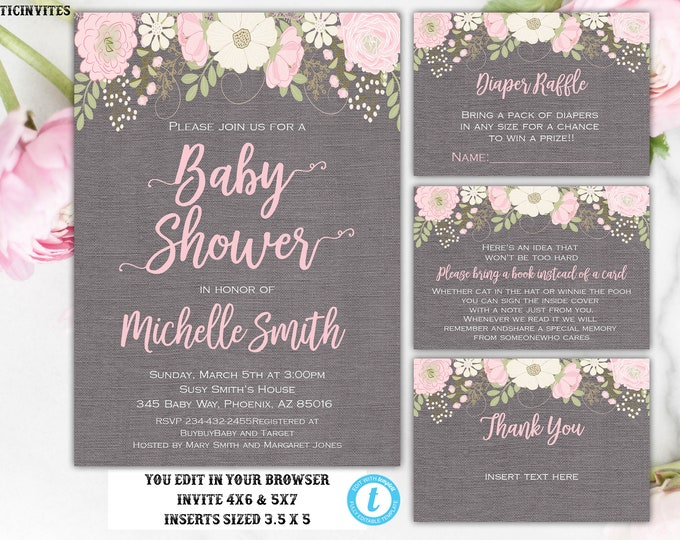 Baby shower Invitation Package Template, Floral Baby Shower Invitation, Baby Shower Template, Watercolor, Baby Shower Invite, You Edit, DIY