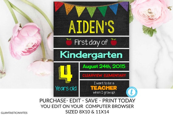 First Day Of School Sign Back To School School Chalkboard Template
