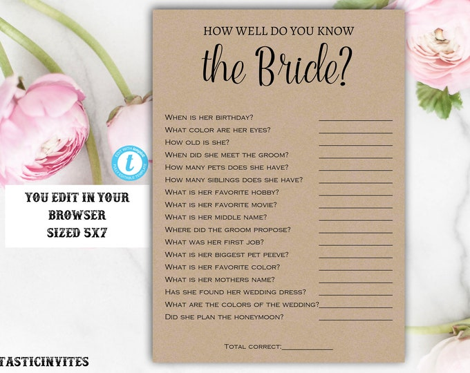 How Well Do You Know the Bride Game, Instant Download, Editable, Printable, Kraft, Bridal Shower Game, How Well Do You Know the Bride, Game