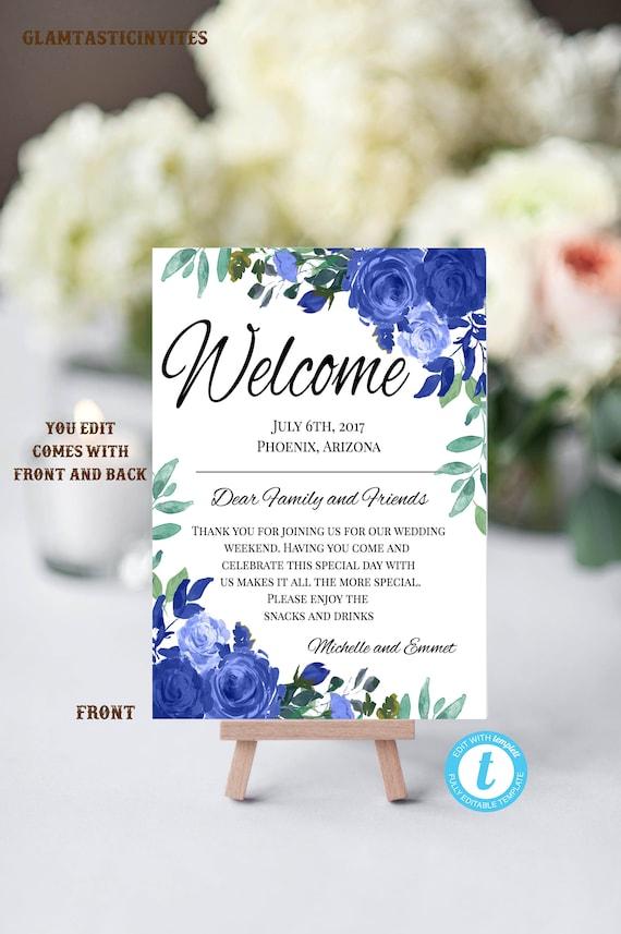 Blaue Blumen Hochzeit Begrüßung Vorlage Begrüßung Hochzeit Vorlage Sie Bearbeiten Agenda Willkommen Tasche Brief Hotel Karte Reiseroute Diy