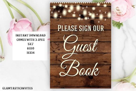 Printable Wedding Sign, Guest Book Sign, Rustic Wedding Sign, Printable Sign, Wedding Sign, Rustic Wedding, Wood Sign, Digital Sign