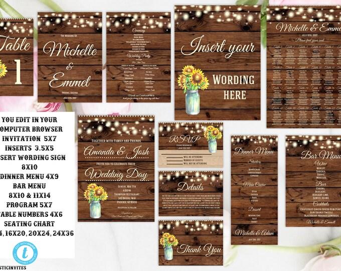 Rustic Sunflower Wedding Invitation Template Package, Sunflower, Wedding Invitations, Wedding Set, Editable, Printable, Online Invitations