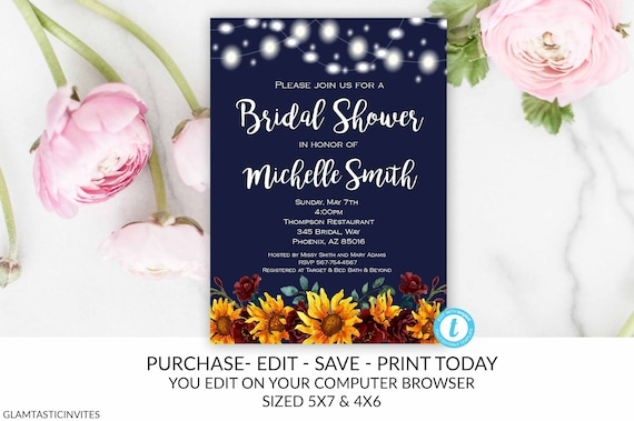 646981df6dfa Rustic Sunflower Floral Bridal Shower Invitation Template Navy Blue  Editable Printable Country Vintage Flower Wine
