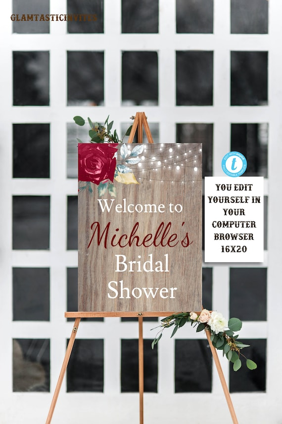 8f3a3cff2a9 RUSTIC BRIDAL SHOWER Sign Flower Bridal Shower Sign Bridal