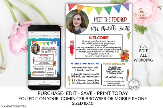 Meet the Teacher Template DIY Welcome back to school note