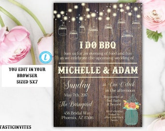 I Do BBQ Couples Shower Invitation Template, BBQ Couples shower, Bbq Invitation, I Do BBq Invitation, I Do Bbq, Template, I Do Bbq Couples