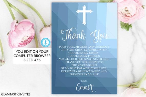 Baptism Boy Blue Thank You Card Template Geometric First
