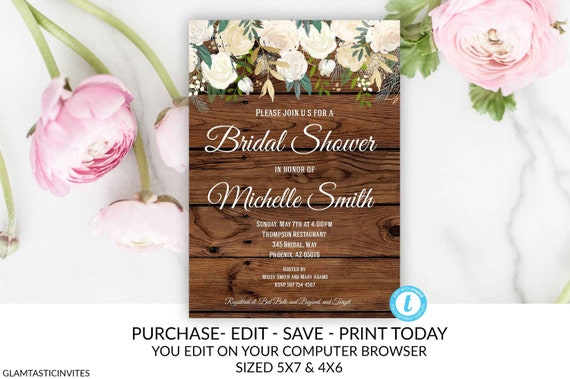 Rustic Floral White Rose Bridal Shower Invitation Template Etsy