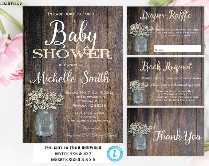 Gender Neutral Baby Shower Package, Rustic Baby Shower, Template, Editable, Printable, Rustic, Baby Shower Invitation, Shower Template, DIY