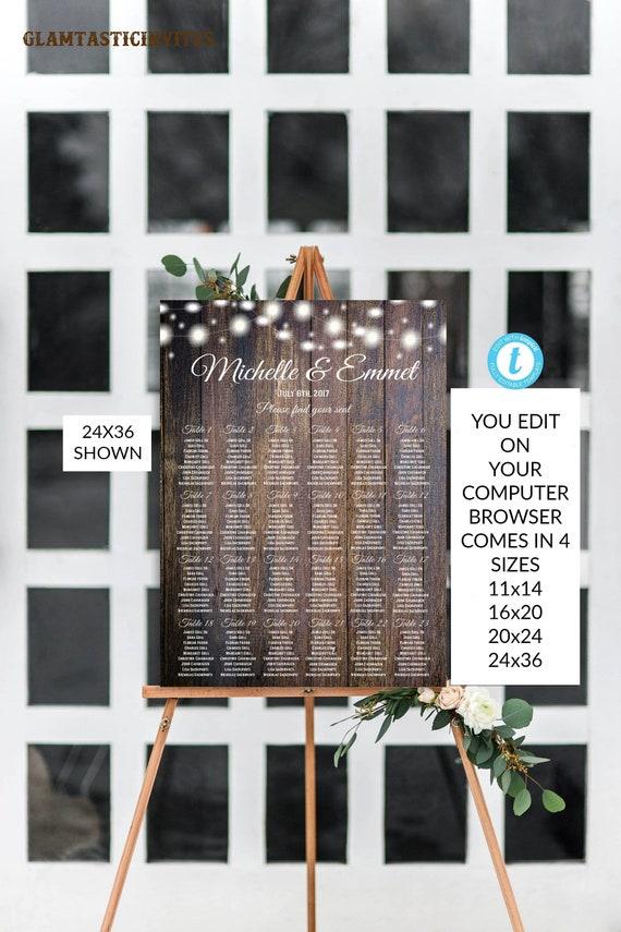 Rustic Wedding Seating Chart Sign Template Diy Wedding Seating