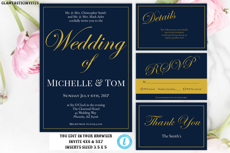 Navy Wedding Invitations: Wedding Invitation Navy Blue Wedding Invitation Gold