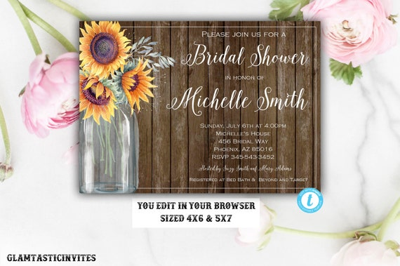 Rustic Bridal Shower Invitation Rustic Invitation Template Etsy