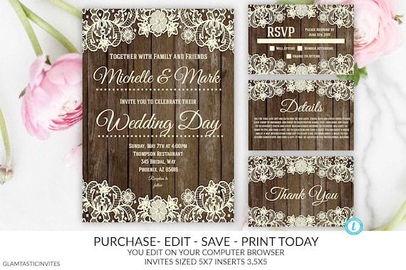 You Edit Wedding Invitation Template Rustic Lace