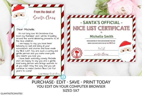 photograph relating to Printable Santa Nice List Certificate named Xmas Letter versus Santa Good Checklist Certification Offer