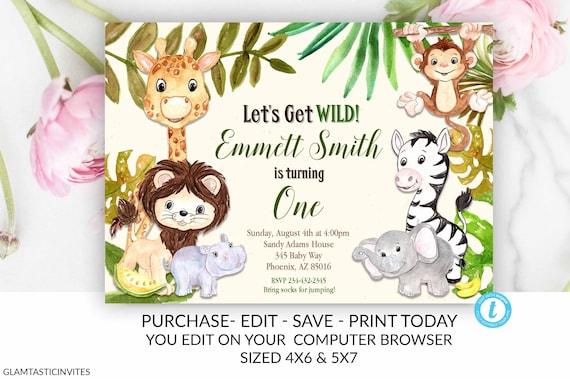 Zoo Birthday Invitation Template Safari Jungle Instant Download