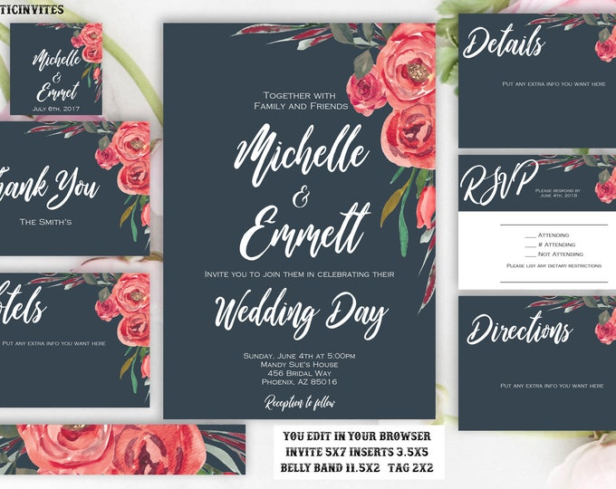 Red Rose Floral Charcoal Wedding Invitation Template, Printable, Template, Instant Download, DIY Wedding, Wedding Template, Boho, Editable
