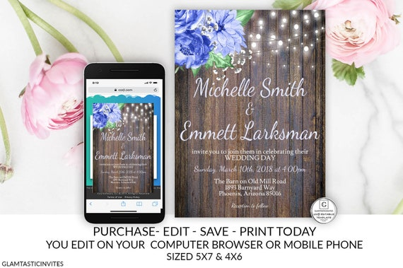 Rustic Blue Floral Wedding Invitation Editable Printable Country