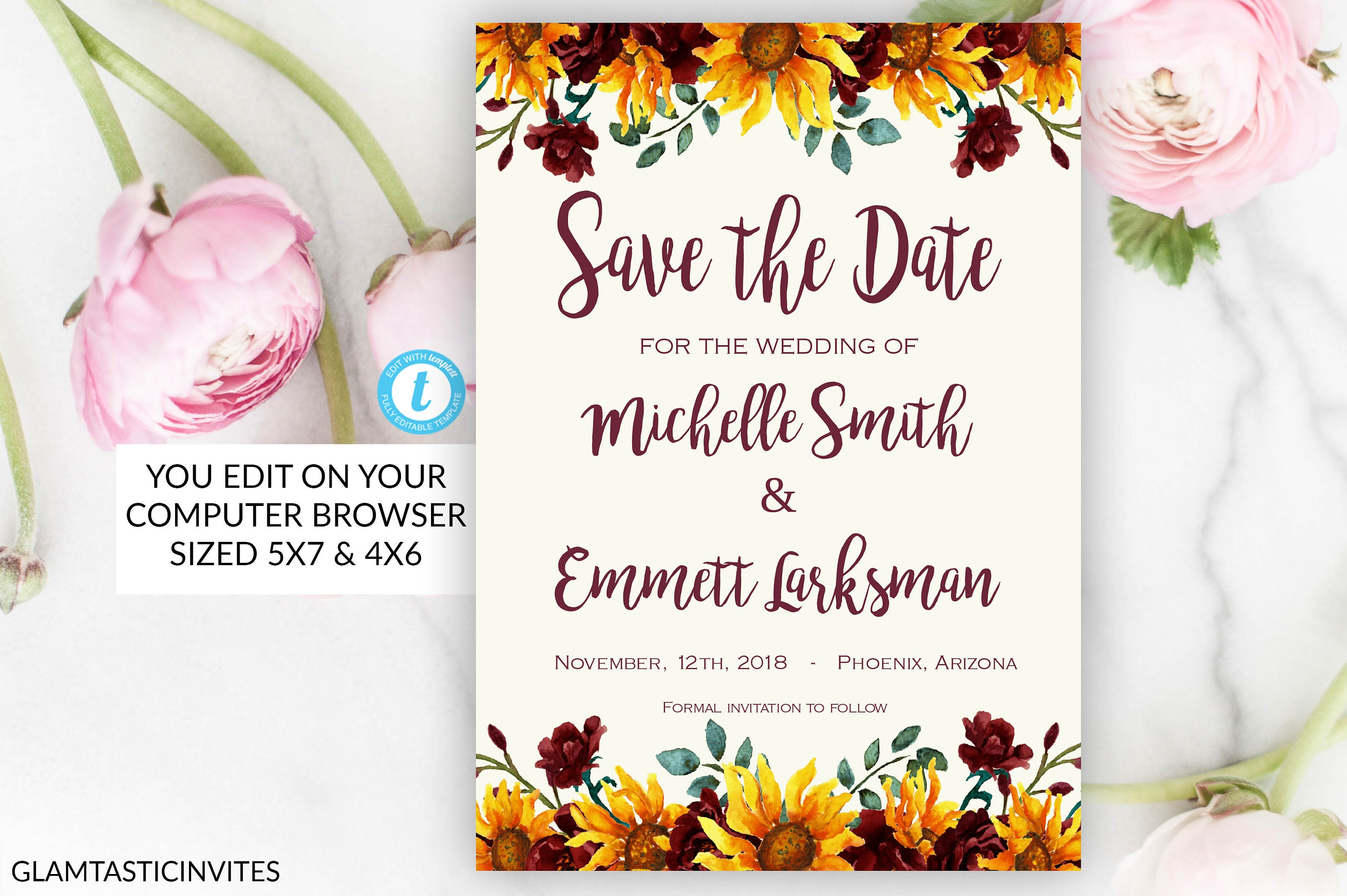 sunflower save the date card template instant download editable