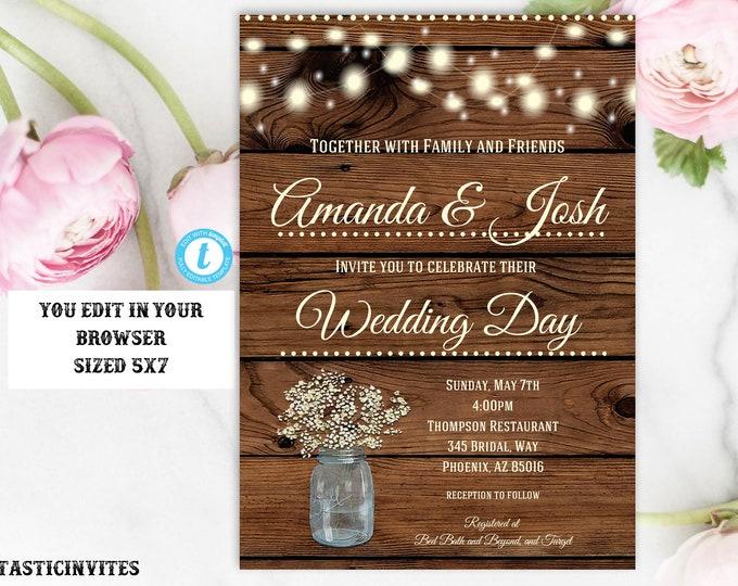 Rustic Wedding Invitation Template, Country Wedding Invitation, Instant Download, Editable, DIY Wedding Invitation, Instant Download, Rustic