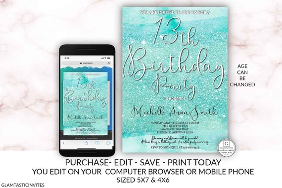 Teal 13th Birthday Party Invitation Glitter Watercolor Editable Printable Thirteenth Birthday Surprise Birthday Electronic Online Invitation By Glamtasticinvites Catch My Party
