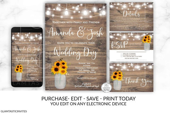 Sunflower Mason Jar Wedding Invitation Printable Rustic Wedding Diy Wedding Mason Jar Invitation Country Farmhouse Sunflower Template By Glamtasticinvites Catch My Party